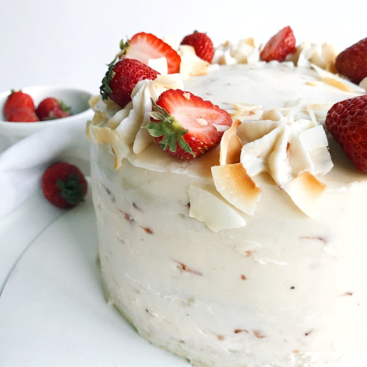 Coconut vanilla cake with strawberrybuttercream