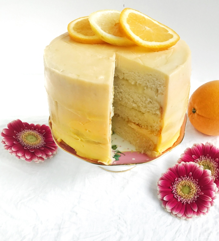 Orange creamsicle cake with lemoncurd