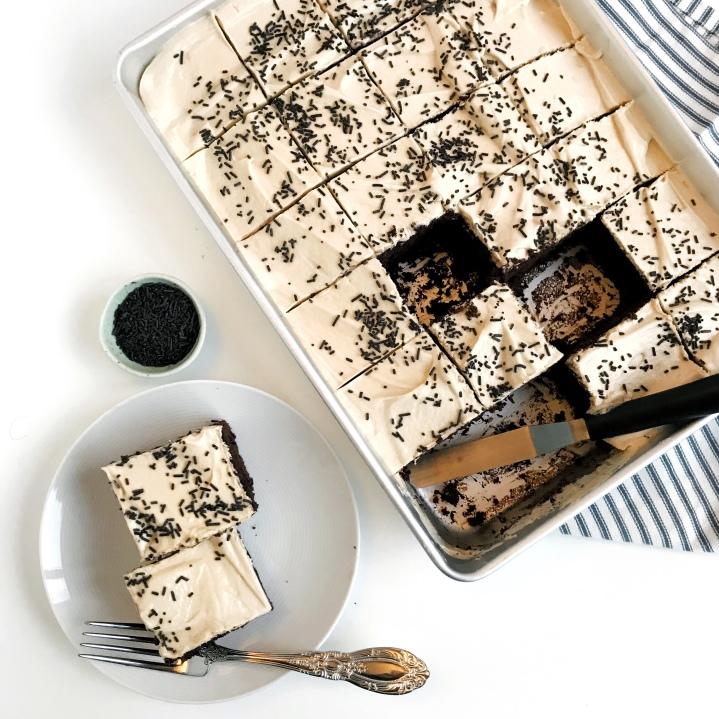 Vegan mocha chocolate chipsheetcake